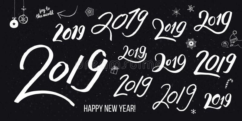 Placez des nombres tirés par la main typographiques blancs du cru 2019 sur le noir illustration de vecteur