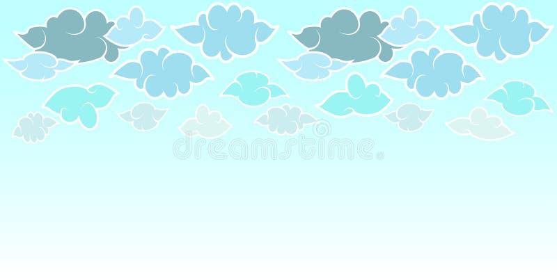 Placez des nuages en style japonais et ciel Fond horizontal de conception plate Illustration de vecteur pour l'affiche de concept illustration stock