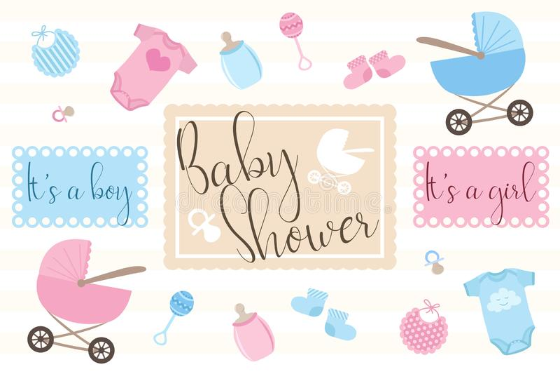 Placez des objets pour des cartes d'invitation pour des nouveaux-nés sur la partie de douche de Babie Illustration pour des garço illustration stock
