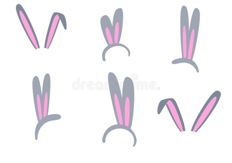 Placez des oreilles d'isolement de lapin de Pâques sur un fond blanc Rose et masque gris avec une oreille de lapin Clipart mignon photographie stock