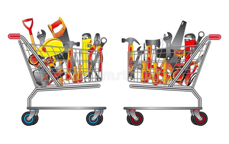 Placez des outils de bricolage dans des achats de chariot facile ? modifier illustration stock