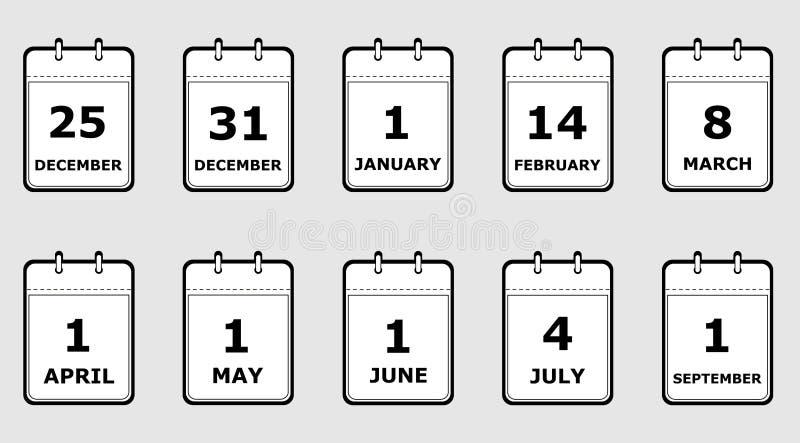 Placez des pages de calendrier d'icônes avec différentes dates de vacances, style noir et blanc et plat, vecteur illustration stock