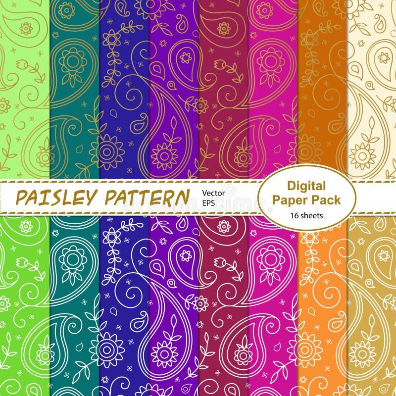 Placez des papiers numériques de modèle de Paisley illustration libre de droits