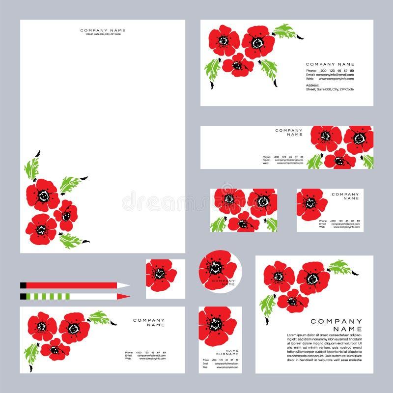 Placez des pavots et des wildflowers rouges Positionnement de joyeux anniversaire Jour de souvenir Illustration de vecteur illustration stock