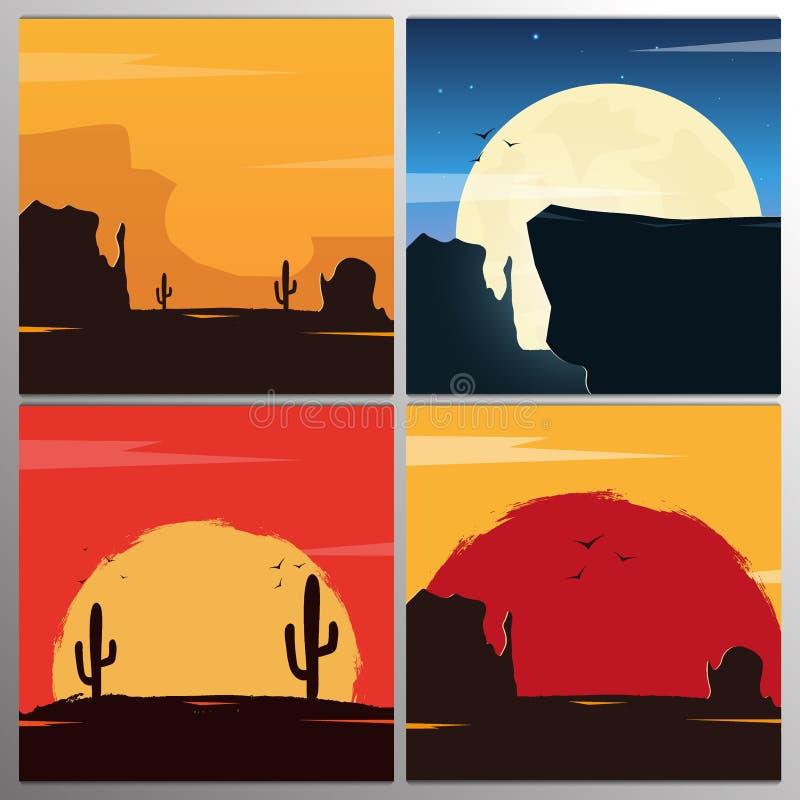 Placez des paysages occidentaux sauvages avec les montagnes et le cactus Coucher du soleil chez le Texas Illustration de vecteur illustration stock