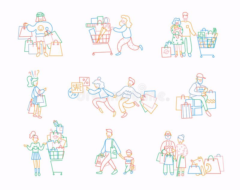 Placez des personnes avec des achats Ligne mince conception plate, illustrations de vecteur dans des couleurs lumineuses illustration libre de droits