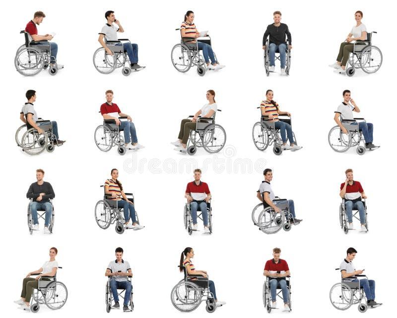 Placez des personnes dans des fauteuils roulants sur le blanc photo libre de droits