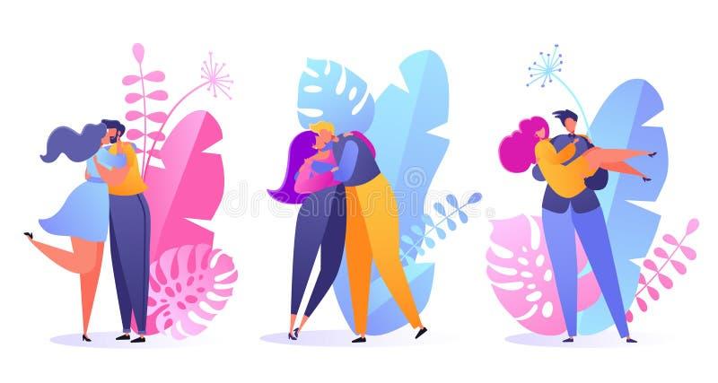 Placez des personnes dans l'amour Valentine datant l'ensemble Illustration romantique de vecteur sur le thème d'histoire d'amour illustration de vecteur