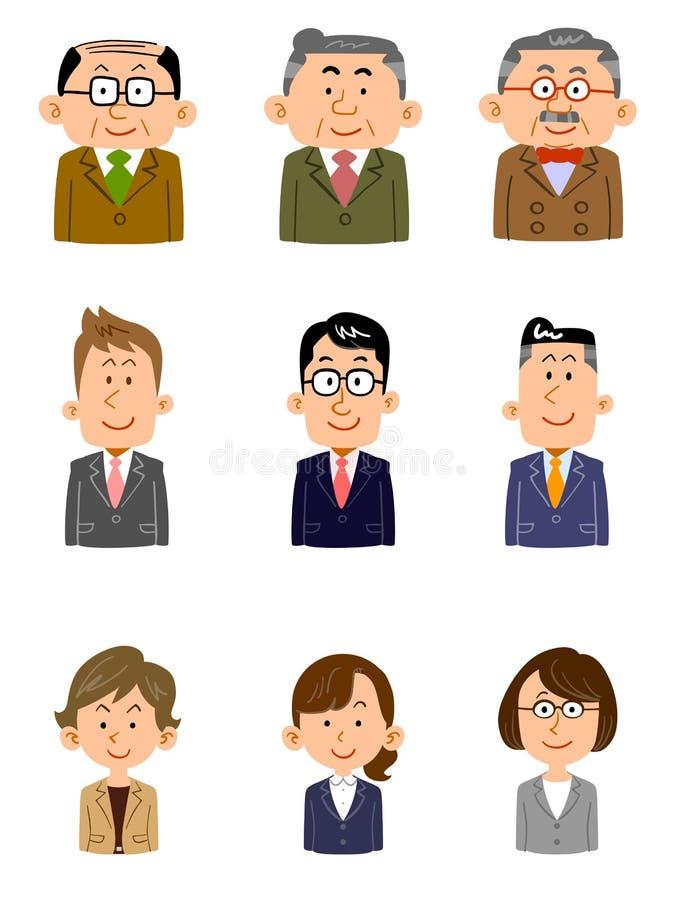 Placez des personnes travaillant au bureau, divers âges, genre illustration de vecteur