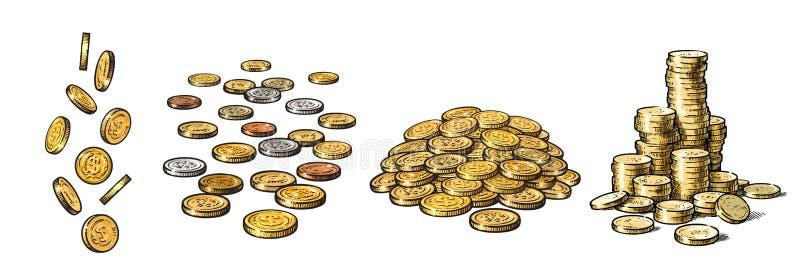 Placez des pièces d'or dans différentes positions Dollars en baisse, pile de l'argent liquide, pile d'argent Collection tirée par illustration libre de droits