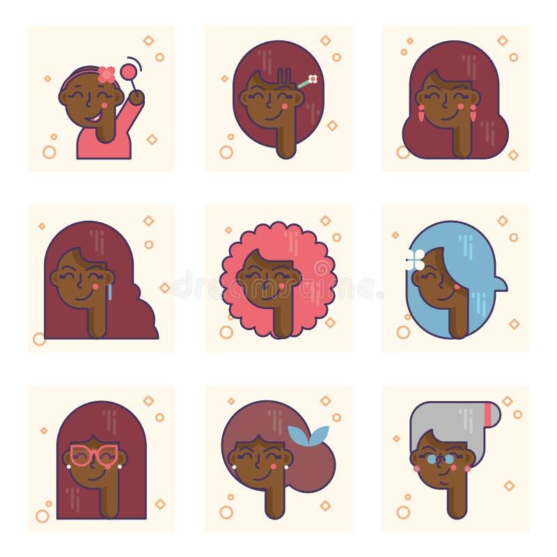 Placez des pictogrammes avec une personne d'afro-américain de différents âges Du bébé au concept de vecteur de femme adulte illustration libre de droits