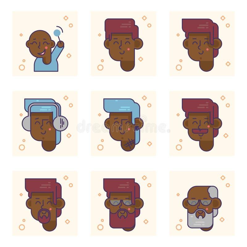 Placez des pictogrammes avec une personne d'afro-américain de différents âges Du bébé garçon au concept adulte de vecteur d'homme illustration de vecteur