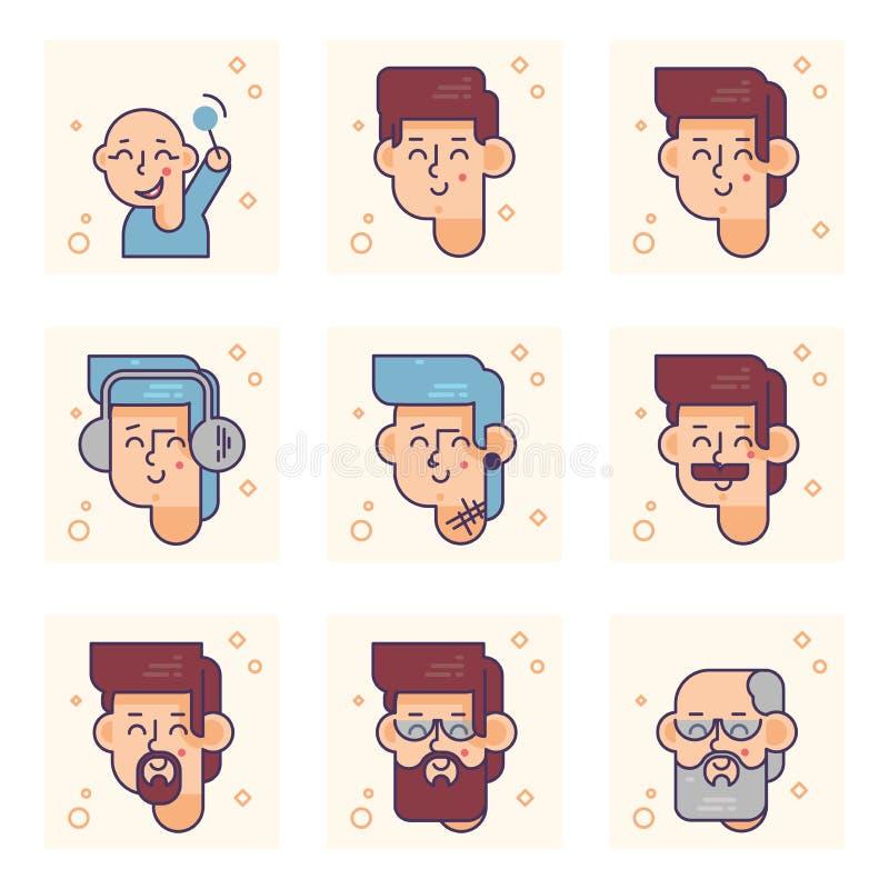 Placez des pictogrammes avec une personne de différents âges Du bébé garçon au concept adulte de vecteur d'homme illustration stock
