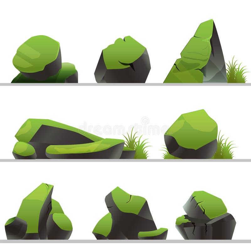 Placez des pierres couvertes de la mousse et d'herbe Pierres de différentes formes d'isolement sur un fond blanc illustration stock