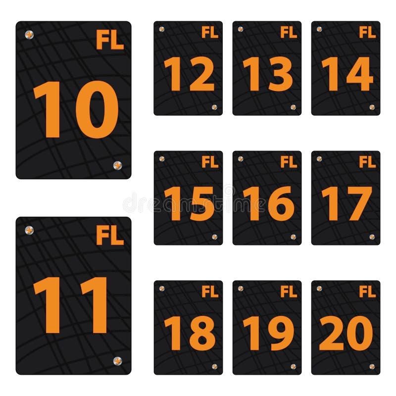 Placez des places noires avec des nombres oranges illustration libre de droits
