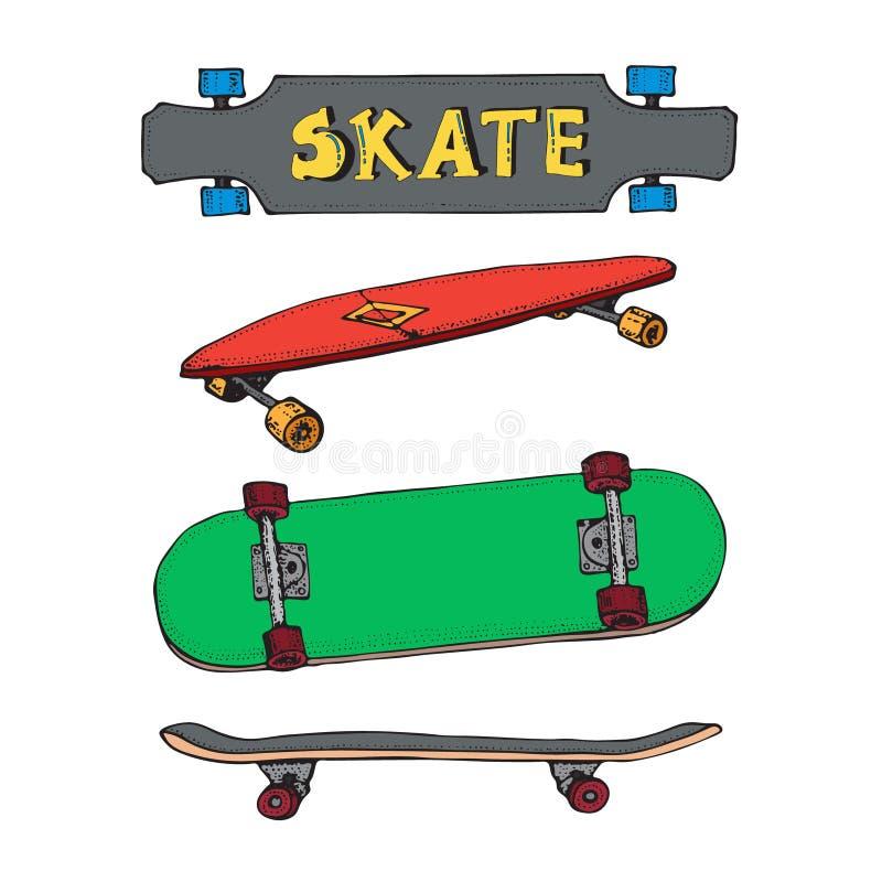 Placez des planches ? roulettes d'isolement sur le blanc Griffonnage Longboard, pennyboard Inscription de la planche ? roulettes  illustration de vecteur