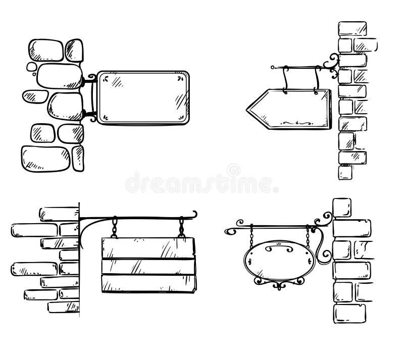 Placez des plaques de rue fixées au mur de briques, illustration de vecteur illustration de vecteur