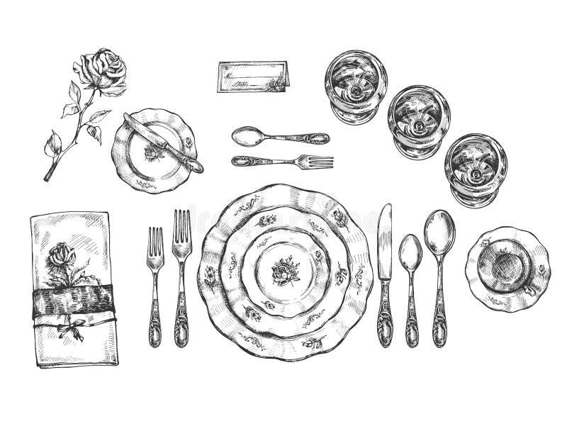 Placez des plats, des verres et des couverts de cru illustration libre de droits