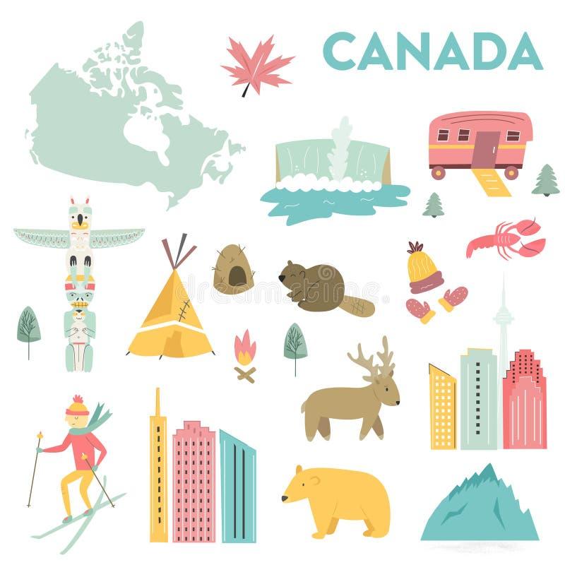 Placez des points de repère de vecteur, les icônes, symboles du Canada illustration libre de droits