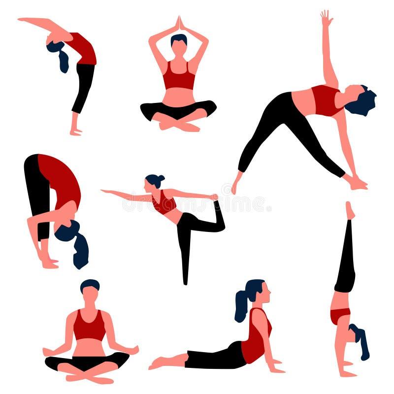 Placez des poses d'aérobic et de yoga Vecteur illustration stock