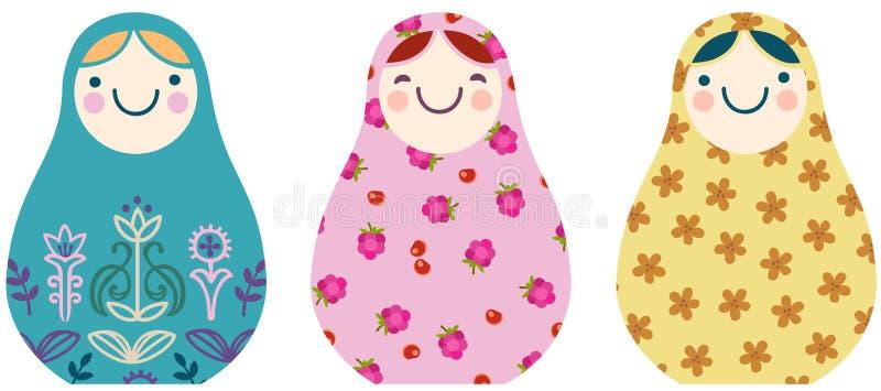 Placez des poupées russes d'emboîtement dans un style simplifié de bande dessinée illustration stock