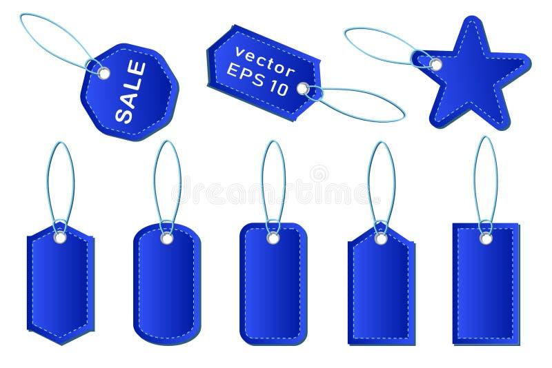 Placez des prix à payer et des labels bleus de vecteur à vendre dans les magasins, supermarchés illustration libre de droits