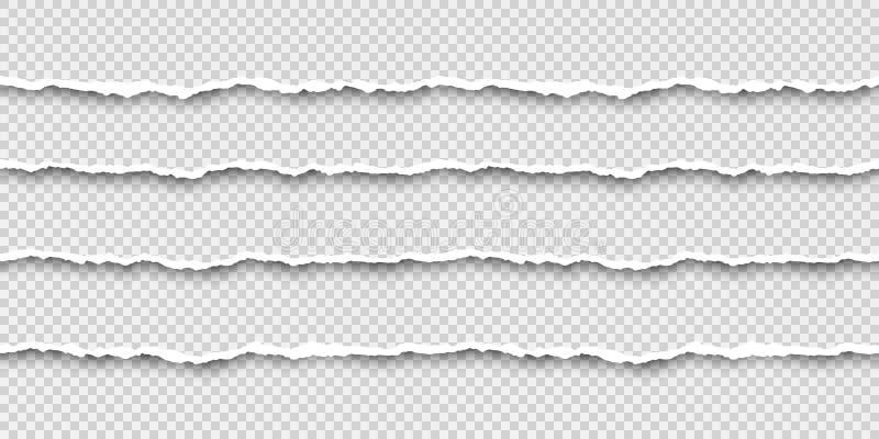 Placez des rayures de papier sans couture de larme Texture de papier avec le bord endommagé Illustration de vecteur d'isolement s illustration de vecteur