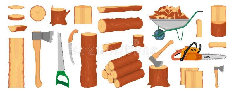 Placez des rondins, des troncs, du tron?on et des planches en bois Outils de b?cheron ou de b?cheron sylviculture Rondins de bois illustration stock