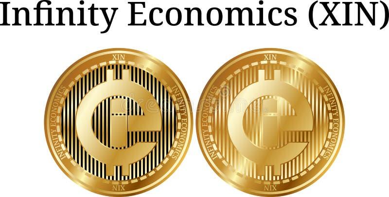 Placez des sciences économiques d'or physiques d'infini de pièce de monnaie (XIN) illustration de vecteur