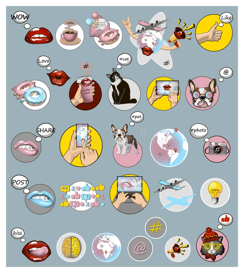 Placez des signes sociaux de médias et des icônes à la mode pour créatif Concept de mode de vie de Digital Symboles sociaux de ré illustration stock