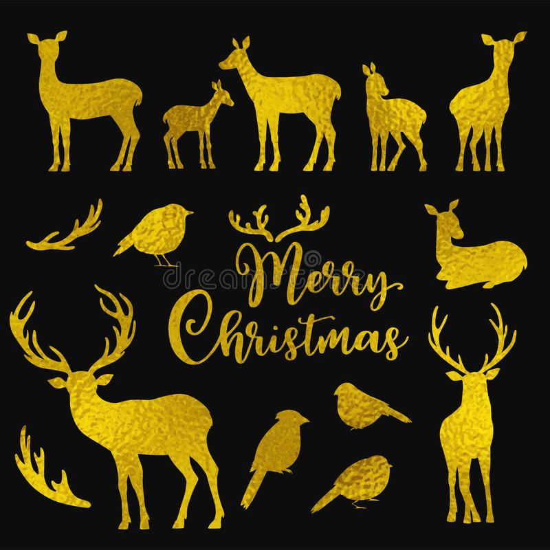 Placez des silhouettes d'or de cerfs communs et d'oiseaux de vecteur illustration libre de droits