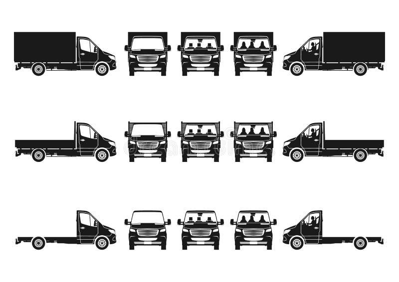 Placez des silhouettes de camion de vecteur illustration de vecteur