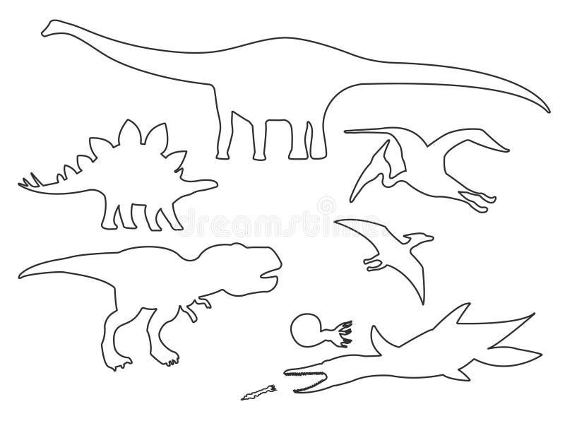 Placez des silhouettes du contour différent de dinosaures illustration libre de droits