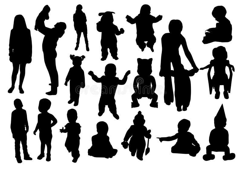 Placez des silhouettes des mères de femmes avec des enfants, vecteur Concept de jour du ` s de mère illustration stock