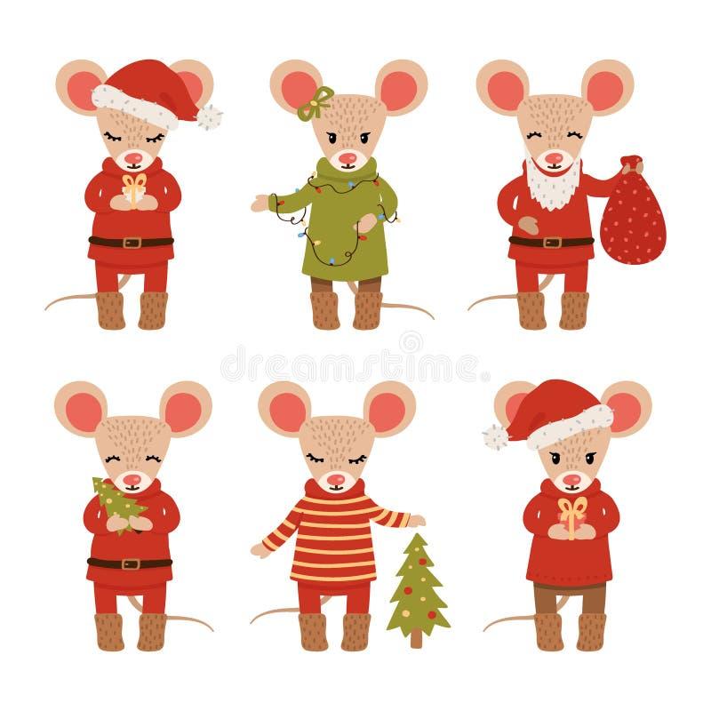 Placez des souris de Noël d'isolement sur le fond blanc Personnages de dessin anim? Illustration de vecteur illustration libre de droits