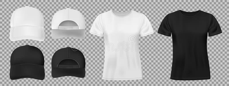 Placez des sports portent le calibre Maquette noire et blanche de casquette de baseball et de T-shirt, avant et vue arrière Illus illustration de vecteur