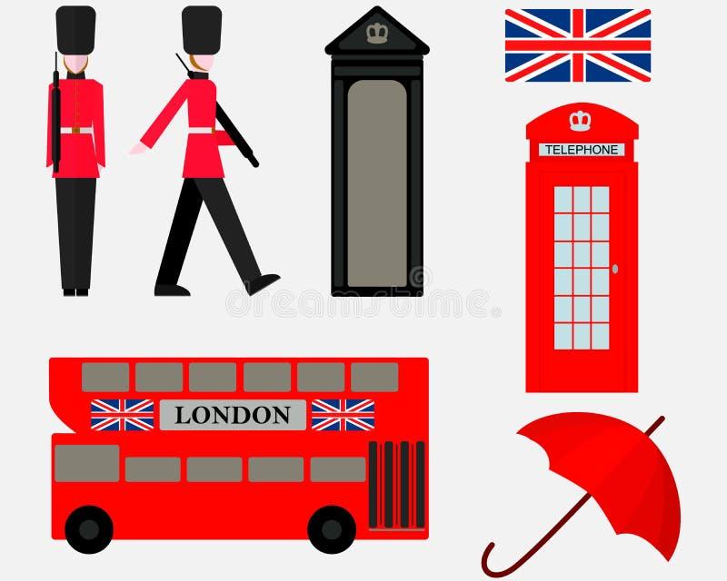 Placez des symboles d'éléments de Londres illustration stock