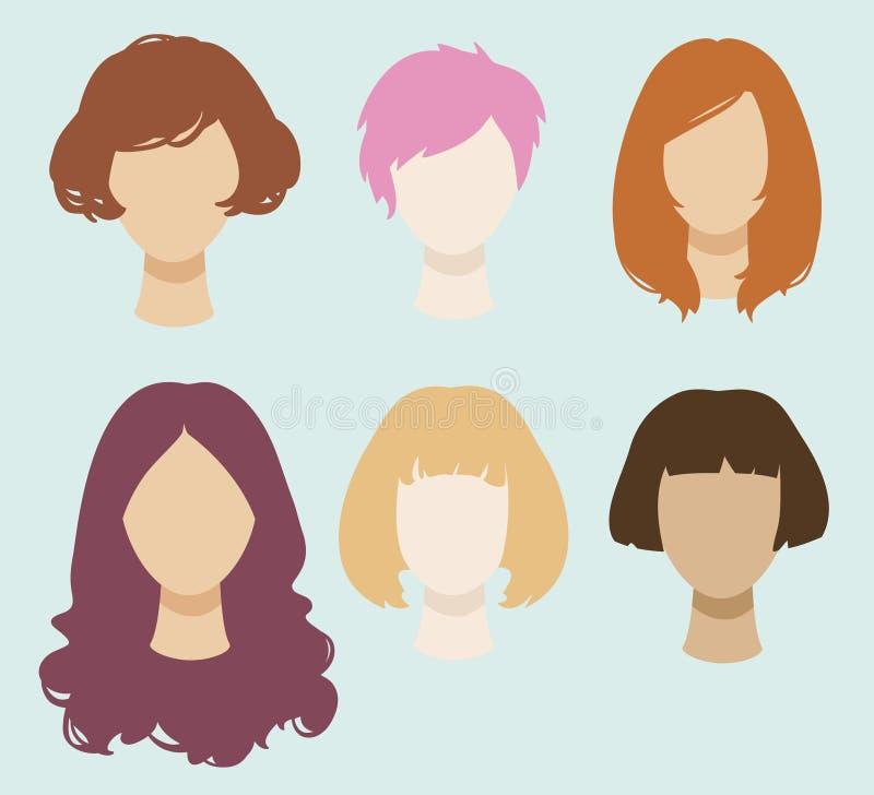 Placez des têtes femelles simplifiées de vecteur avec différentes coiffures illustration libre de droits