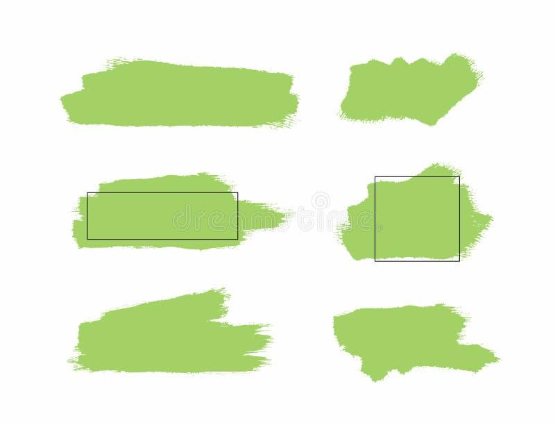 Placez des taches de peinture et des calibres verts d'aquarelle avec des cadres Grunge, croquis, éclaboussure illustration de vecteur
