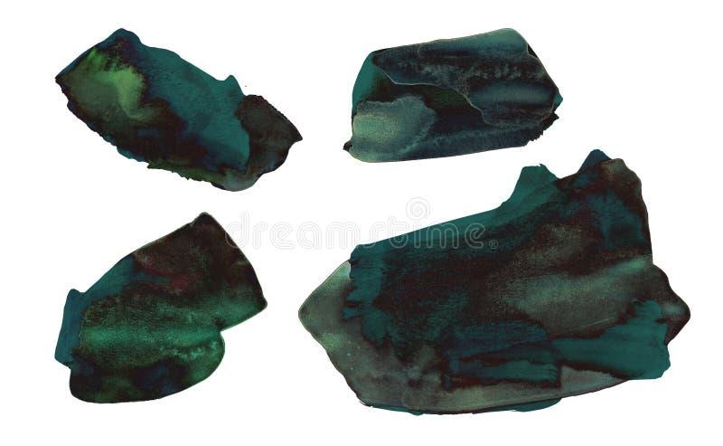 Placez des taches tirées par la main vert-foncé d'aquarelle photographie stock libre de droits