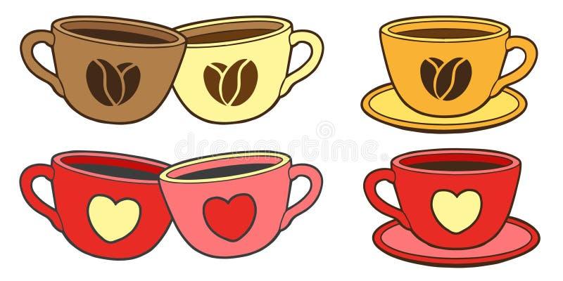 Placez des tasses douces de vecteur pour le café ou le thé Illustration pour la conception de Saint-Valentin illustration libre de droits