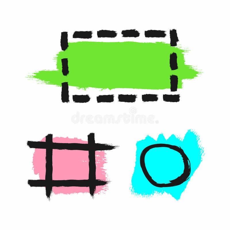 Placez des textures d'aquarelle de couleur avec les cadres approximatifs Grunge, croquis, graffiti, peinture, encre Vert, rose, b illustration de vecteur