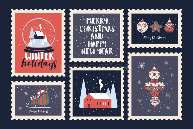 Placez des timbres-poste consacrés aux vacances de Noël et à la nouvelle année illustration libre de droits