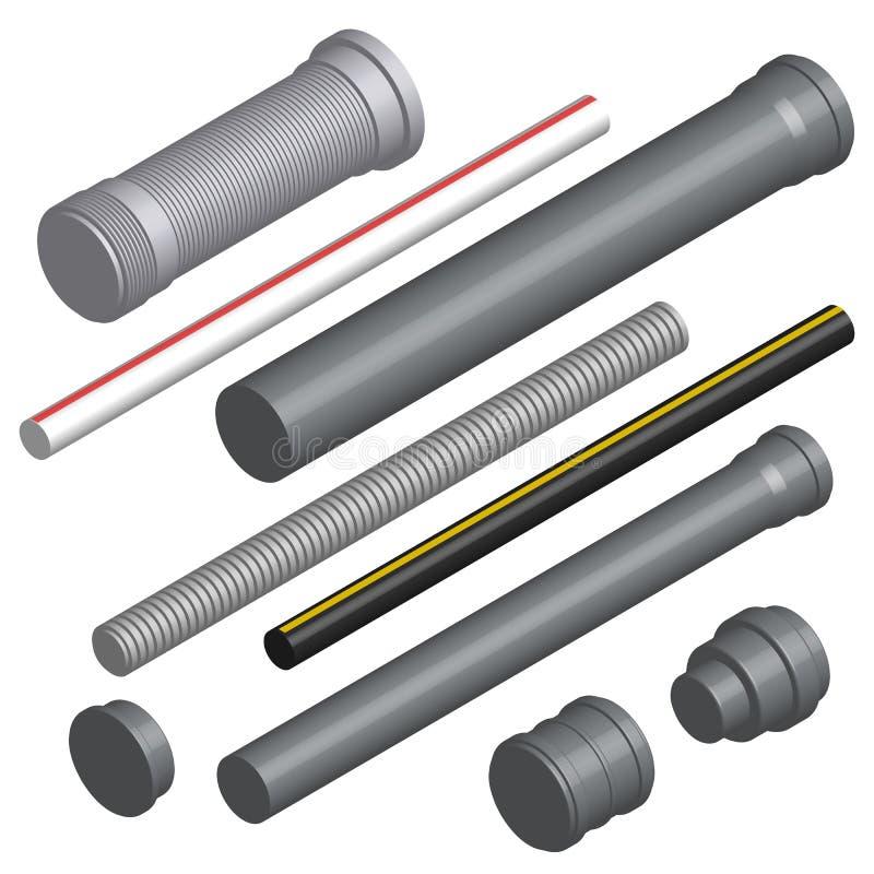Placez des tuyaux 3D et des connecteurs en plastique, illustration de vecteur illustration de vecteur