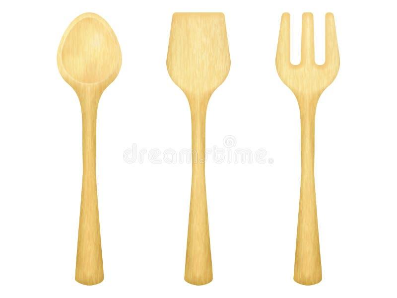 placez des ustensiles en bois de cuisine, cuillère, fourchette, spatule illustration libre de droits