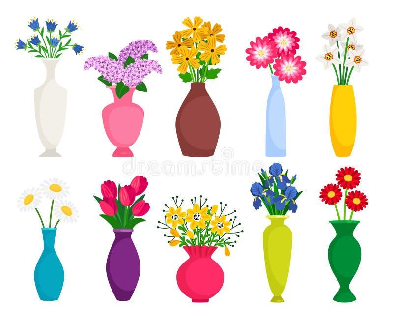 Placez des vases colorés avec les fleurs de floraison pour la décoration et l'intérieur illustration stock