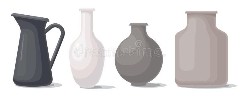 Placez des vases de différentes formes et couleurs illustration libre de droits