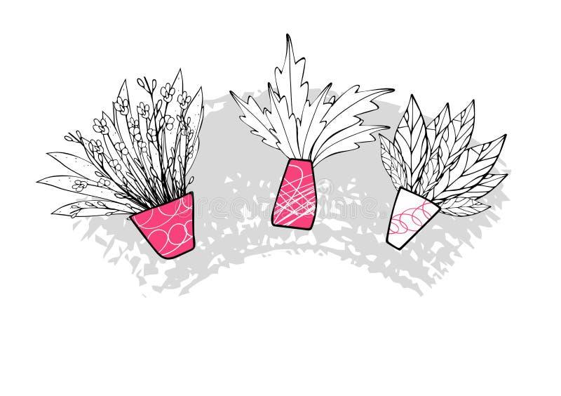 Placez des vaves de fleurs de vecteur dans le style de griffonnage illustration stock