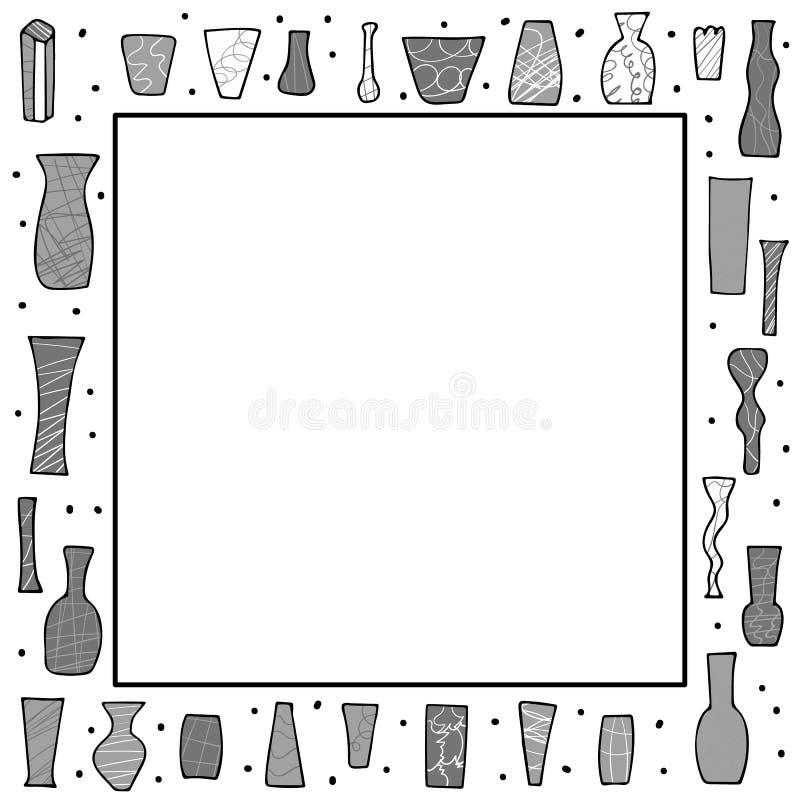 Placez des vaves de fleurs de vecteur dans le style de griffonnage illustration libre de droits