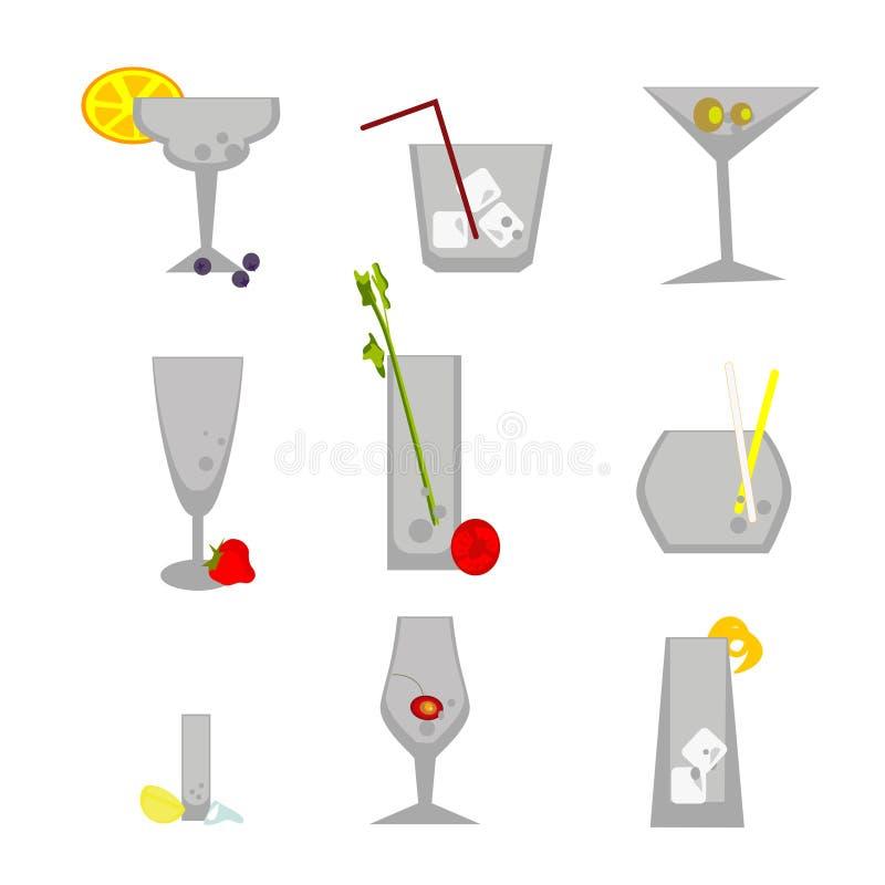 Placez des verres de barre avec des éléments de couleur illustration stock